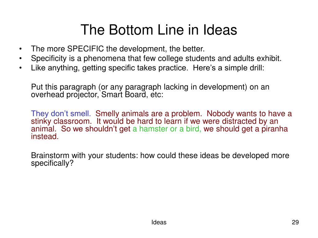 The Bottom Line in Ideas