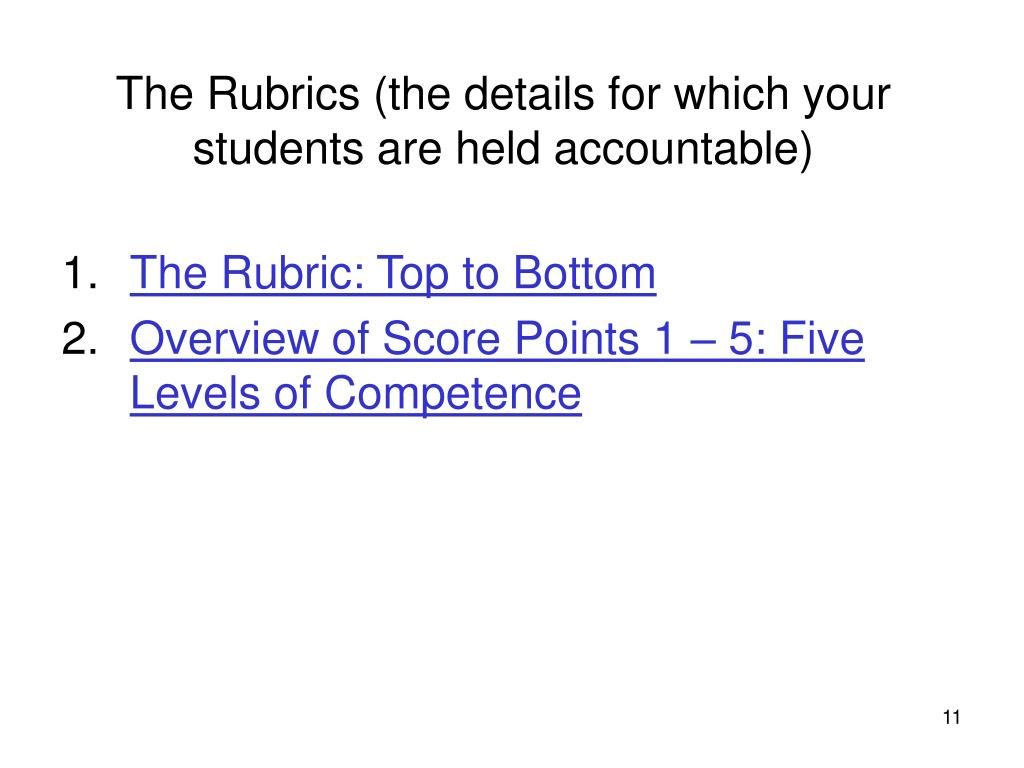 The Rubrics (the details for which your students are held accountable)