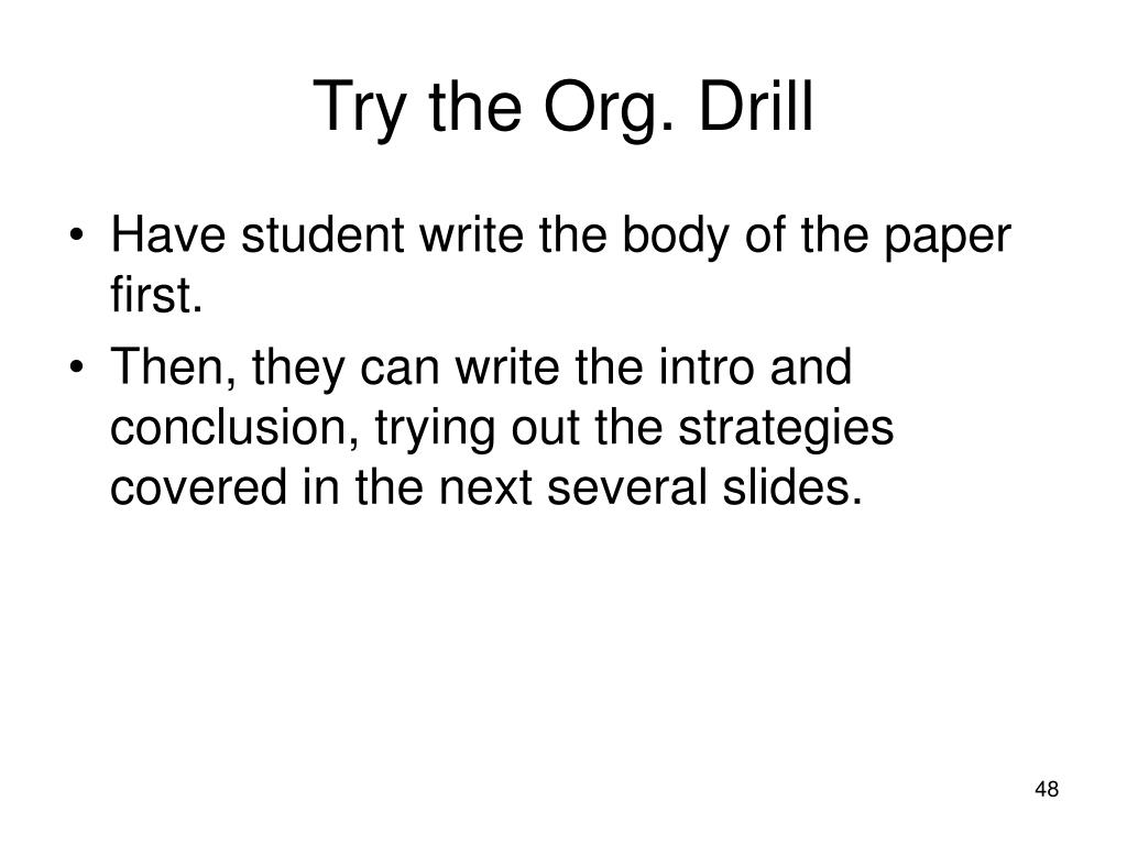 Try the Org. Drill