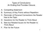 types of conclusions an ending that provides closure