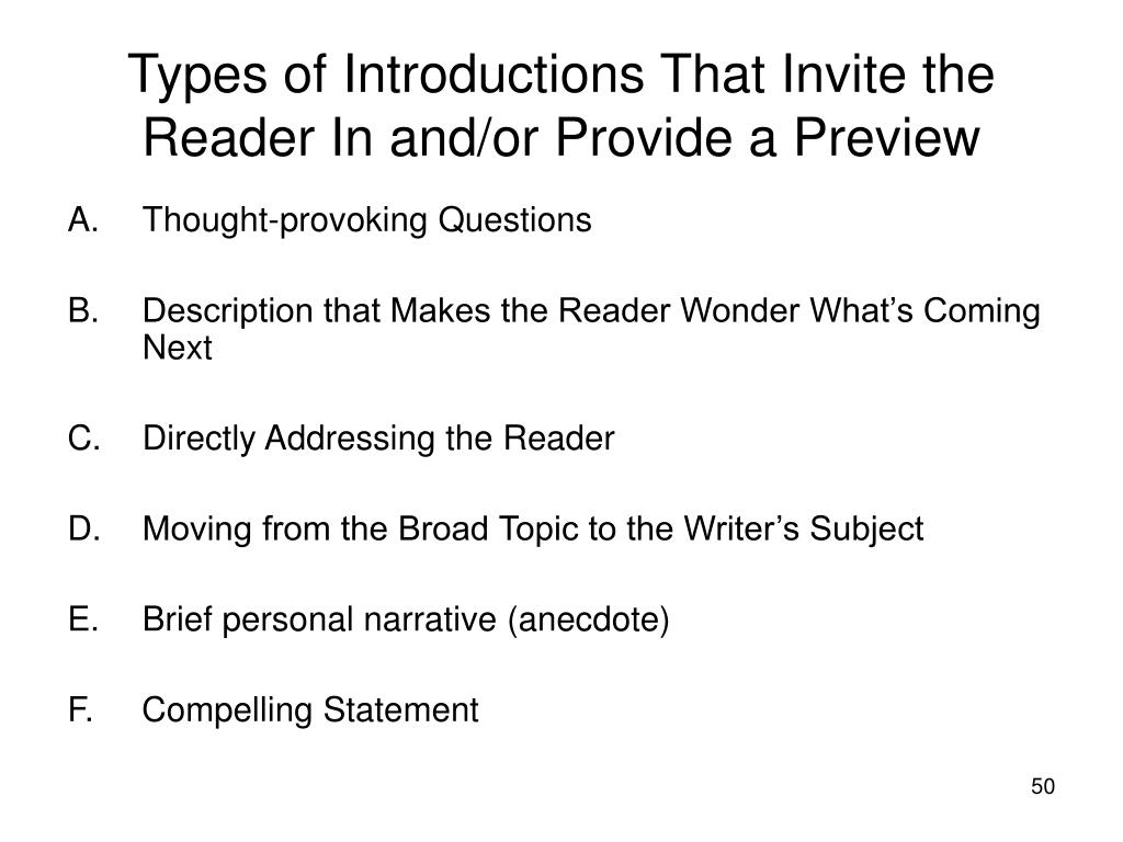 Types of Introductions That Invite the Reader In and/or Provide a Preview