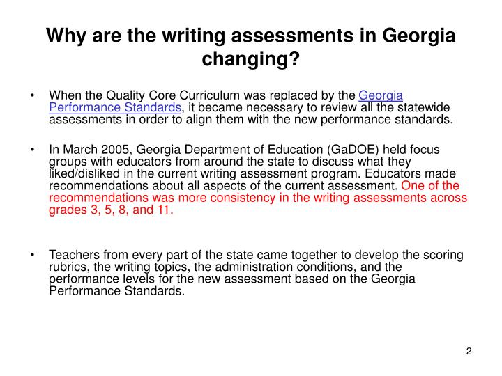 Why are the writing assessments in georgia changing