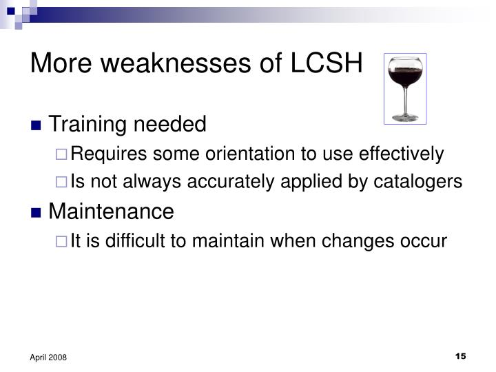 More weaknesses of LCSH