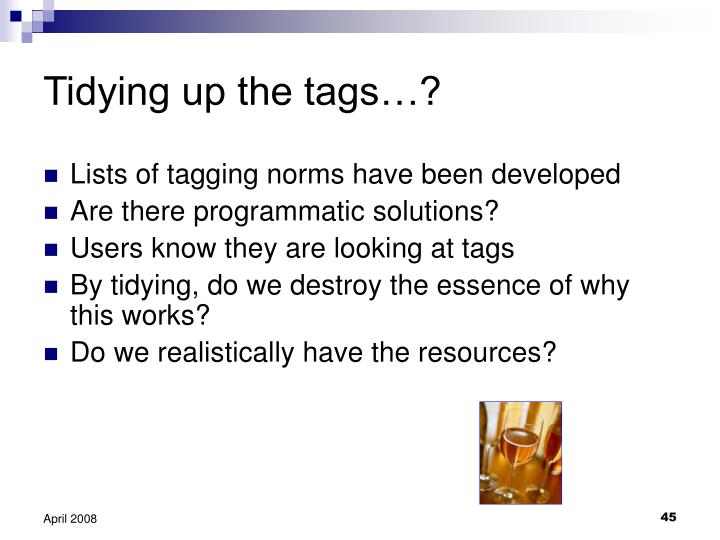 Tidying up the tags…?