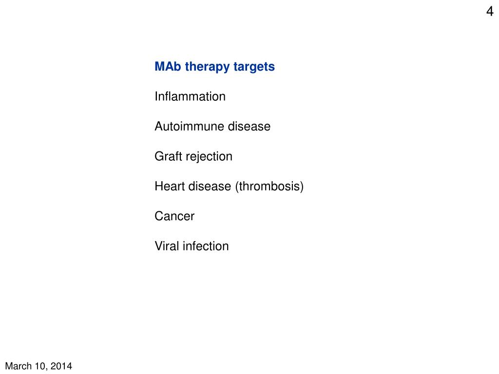 MAb therapy targets