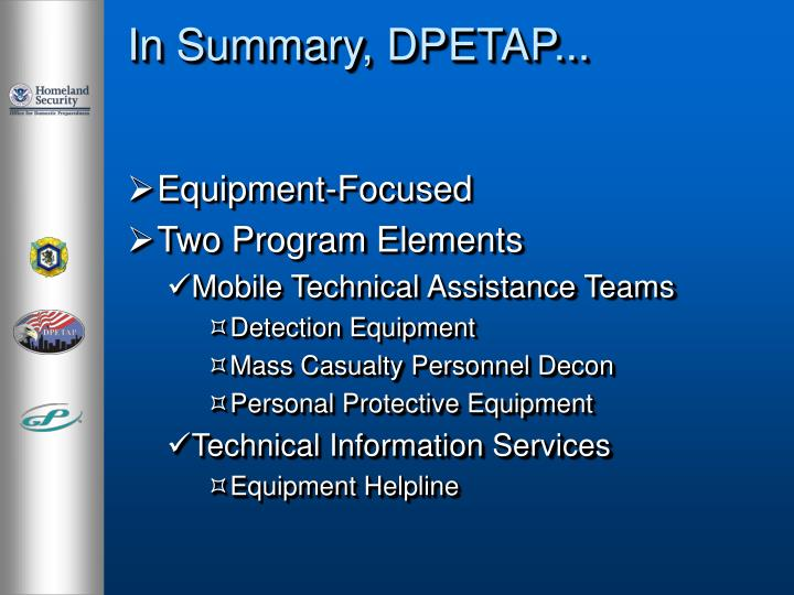 In Summary, DPETAP...