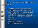 since program inception may 2000