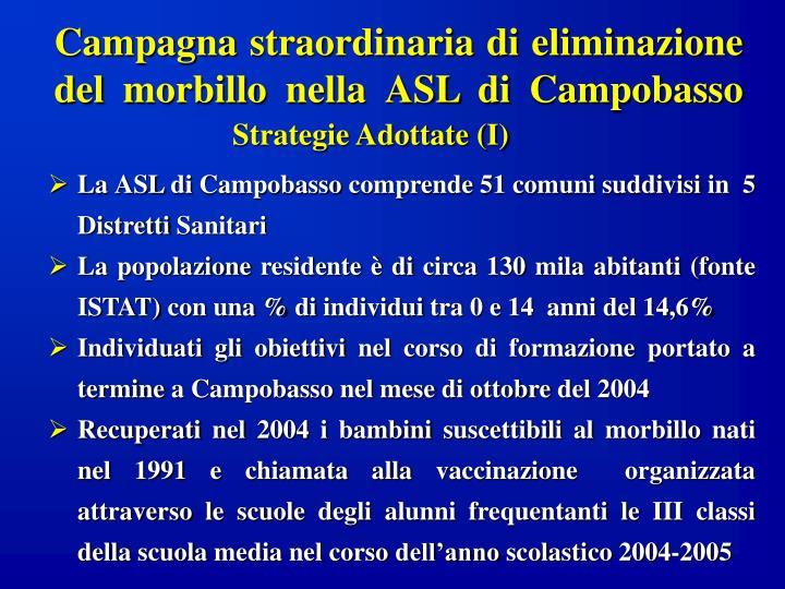 Campagna straordinaria di eliminazione del morbillo nella ASL di Campobasso