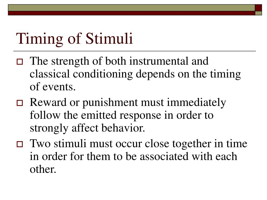 Timing of Stimuli