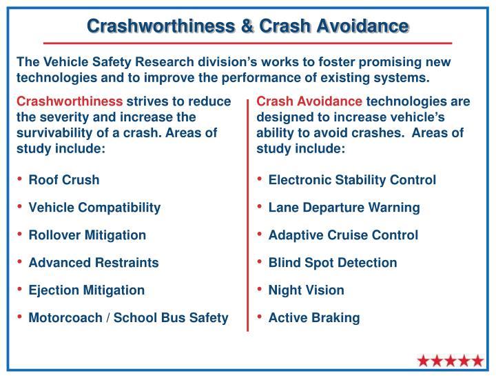 Crashworthiness & Crash Avoidance