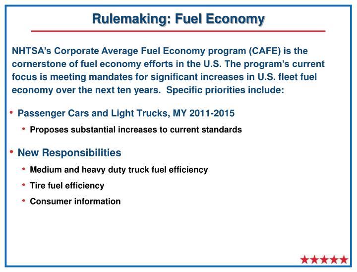 Rulemaking: Fuel Economy