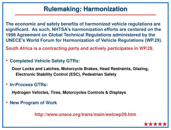 Rulemaking: Harmonization