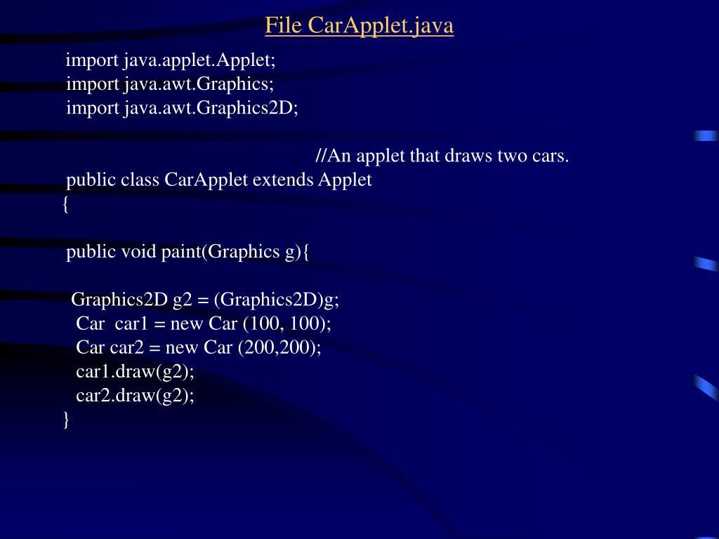 File CarApplet.java