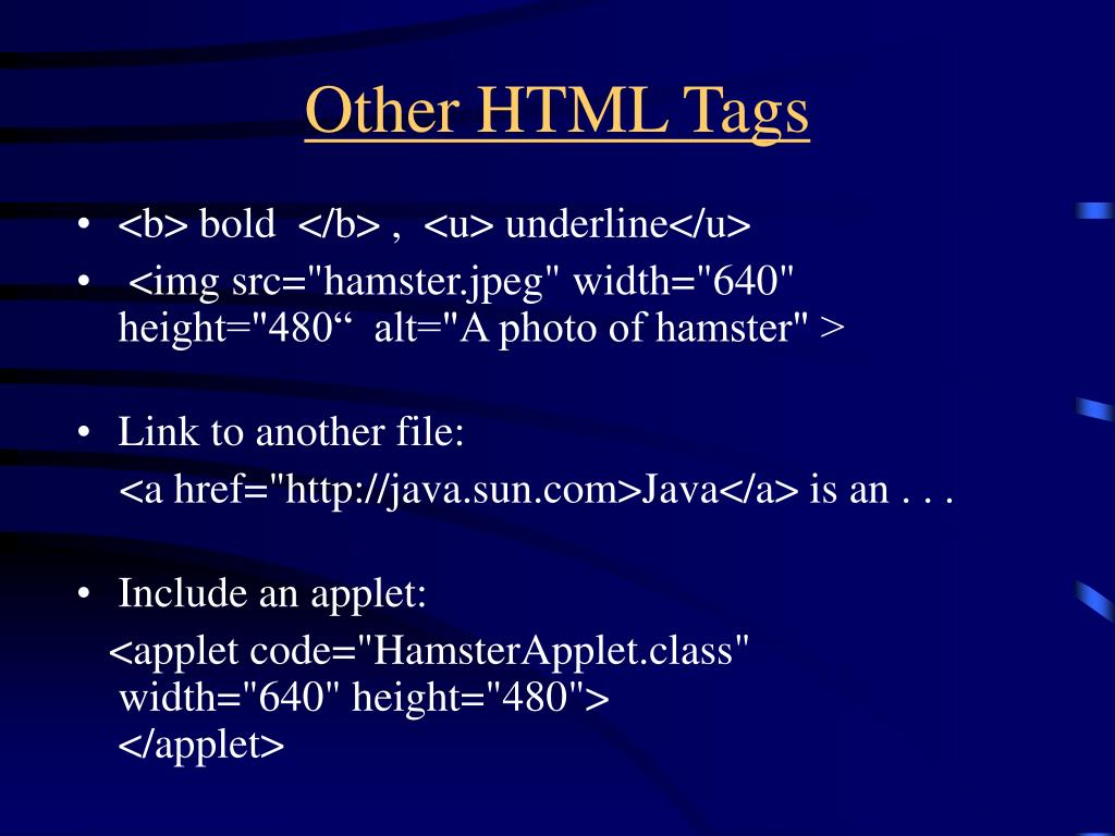 Other HTML Tags