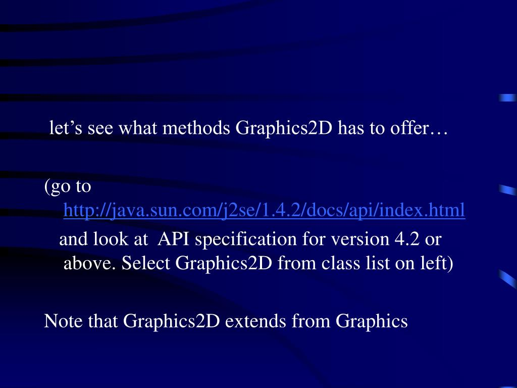 let's see what methods Graphics2D has to offer…