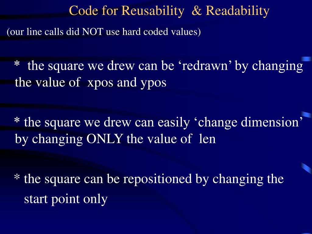 Code for Reusability  & Readability