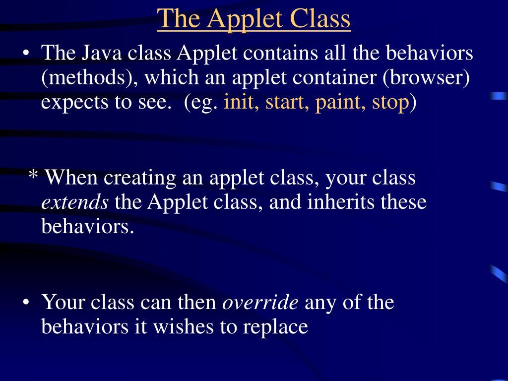 The Applet Class