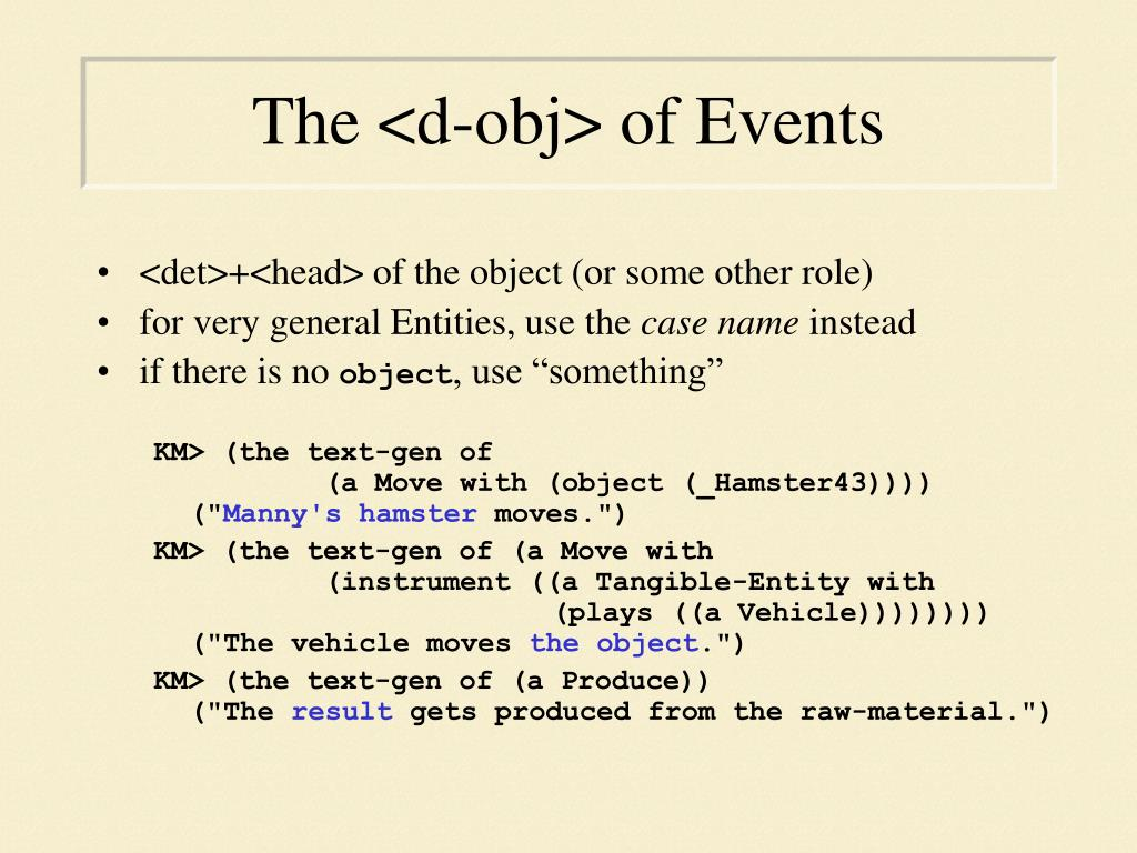 The <d-obj> of Events