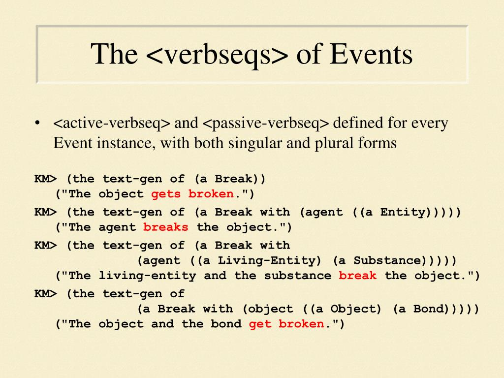 The <verbseqs> of Events