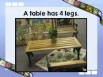 a table has 4 legs