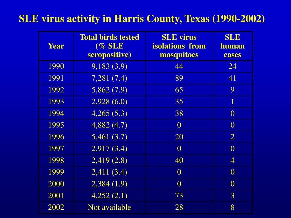 SLE virus activity in Harris County, Texas (1990-2002)