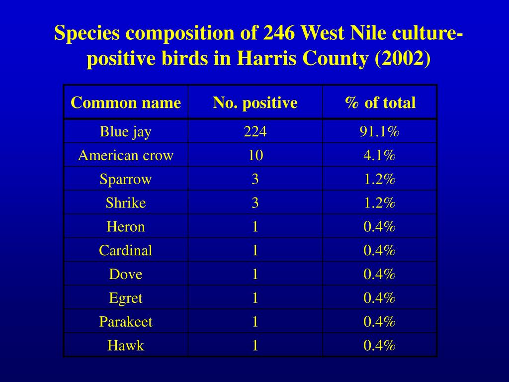 Species composition of 246 West Nile culture-positive birds in Harris County (2002)
