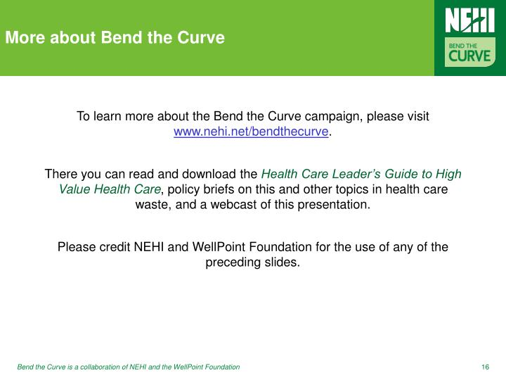 More about Bend the Curve