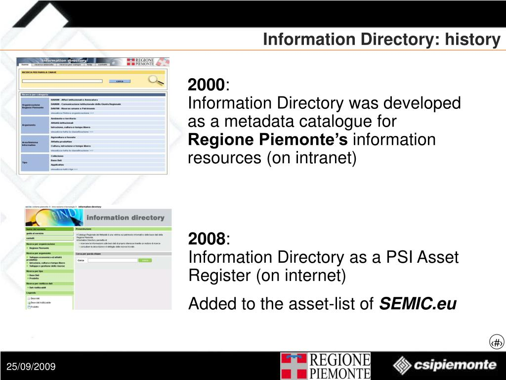 Information Directory: history