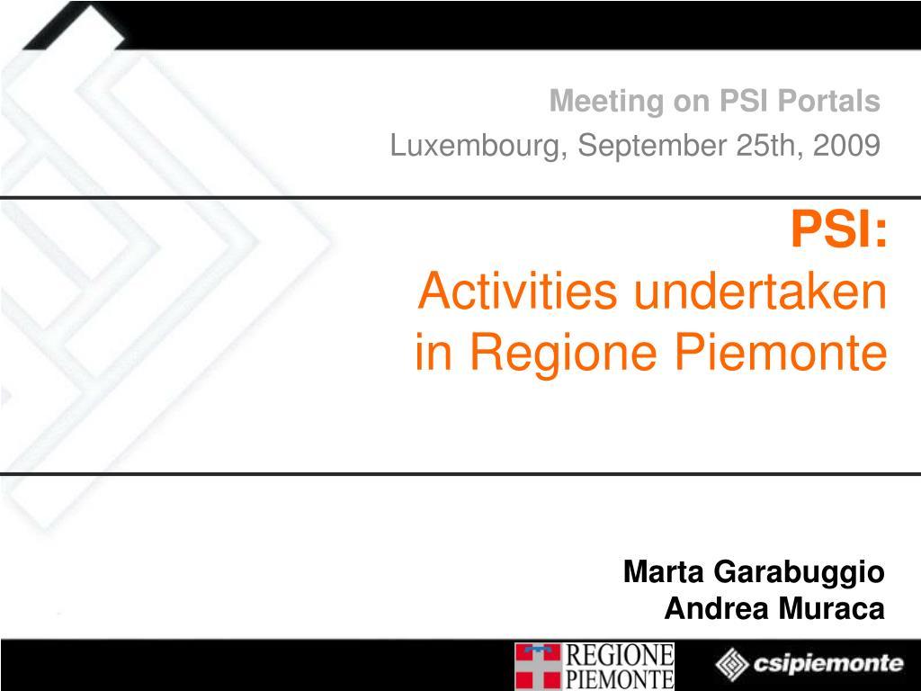 Meeting on PSI Portals