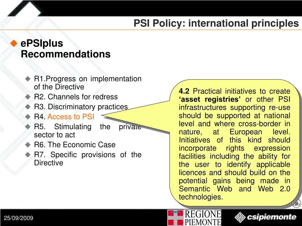 PSI Policy: international principles