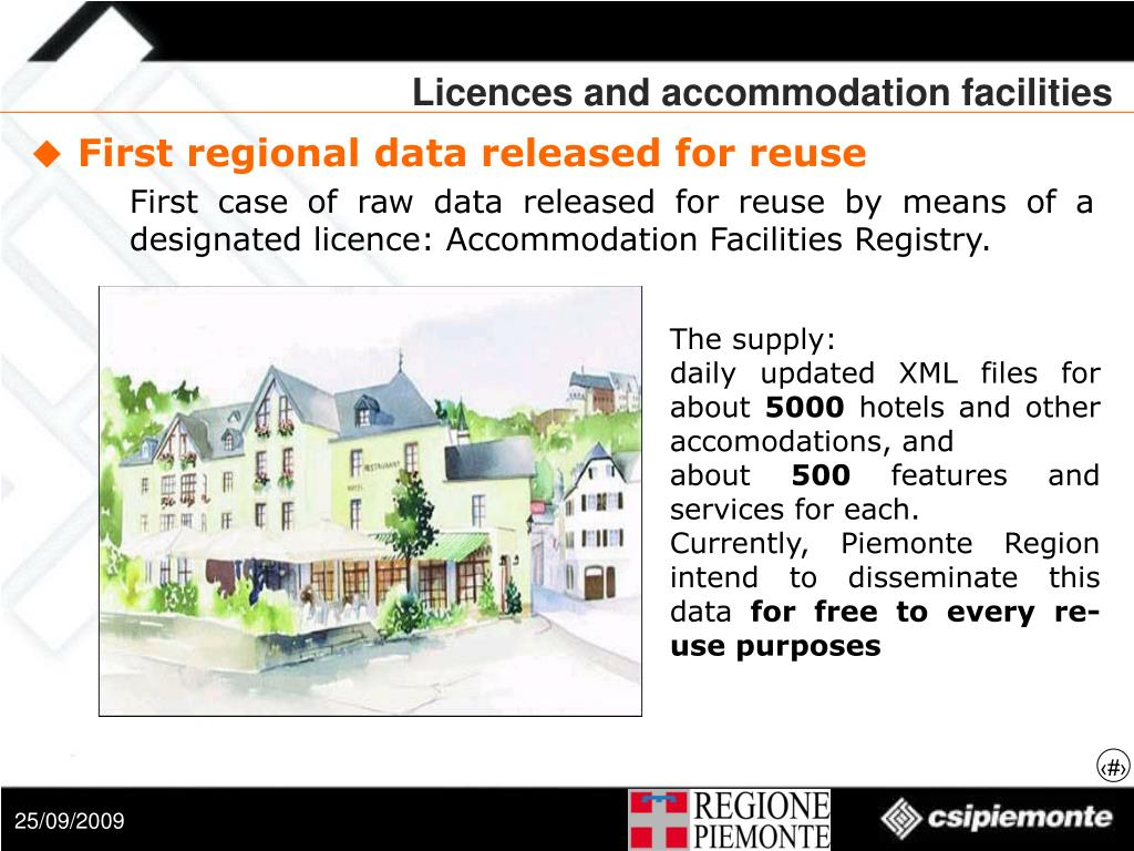 Licences and accommodation facilities