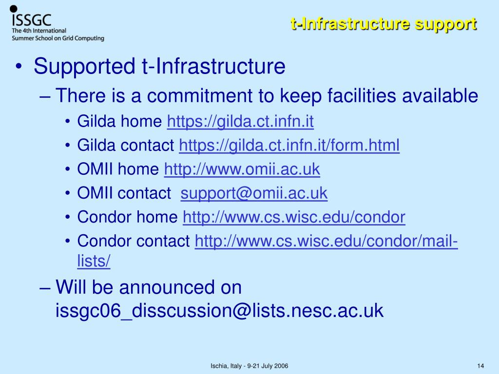 t-Infrastructure support