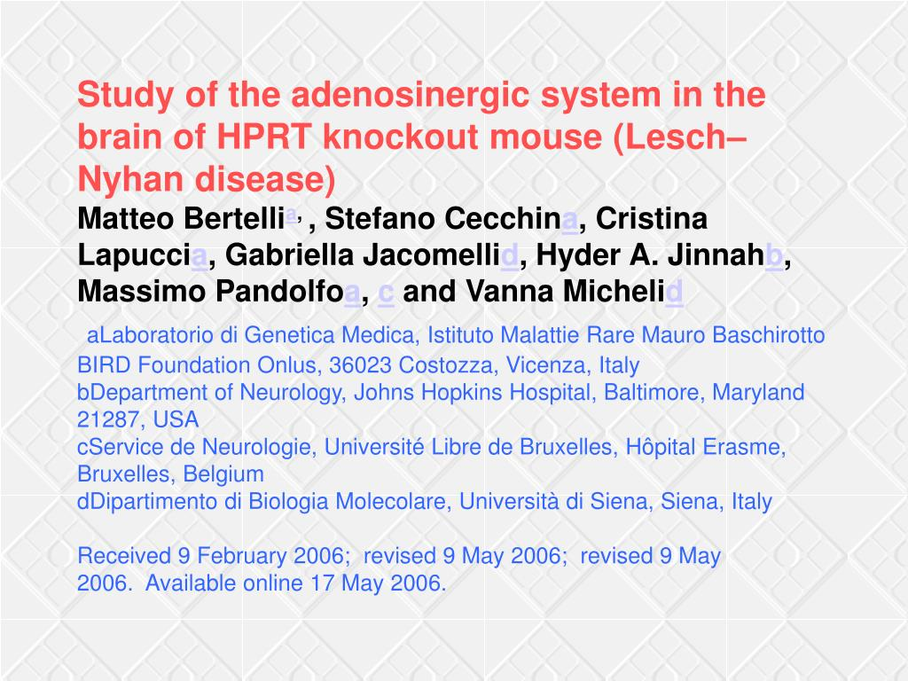 Study of the adenosinergic system in the brain of HPRT knockout mouse (Lesch–Nyhan disease)