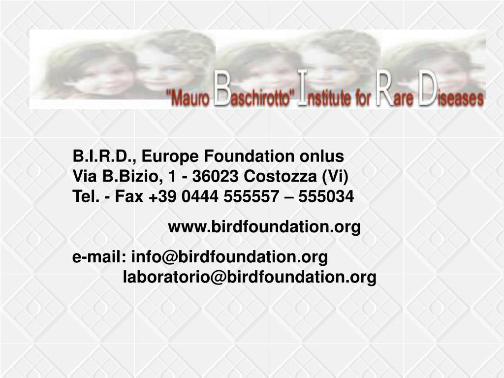 B.I.R.D., Europe Foundation onlus
