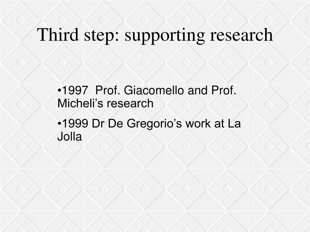 Third step: supporting research