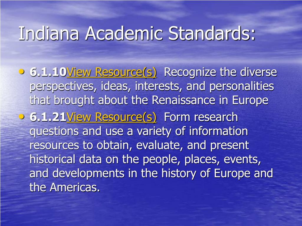 Indiana Academic Standards: