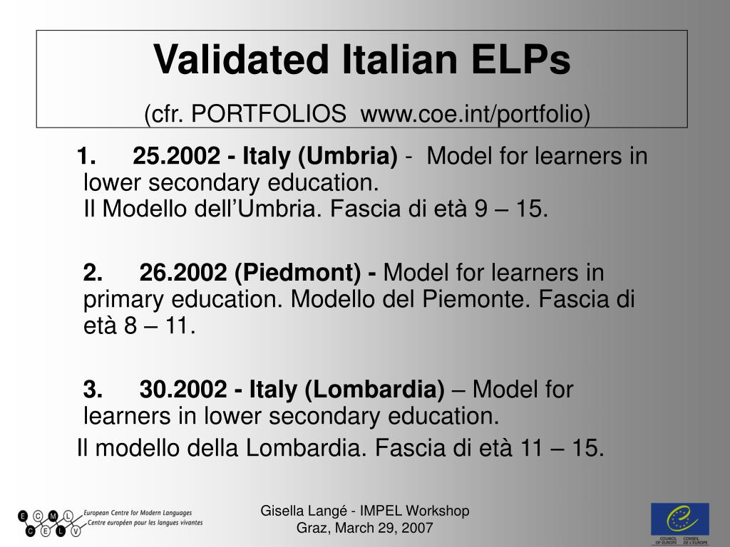 Validated Italian ELPs
