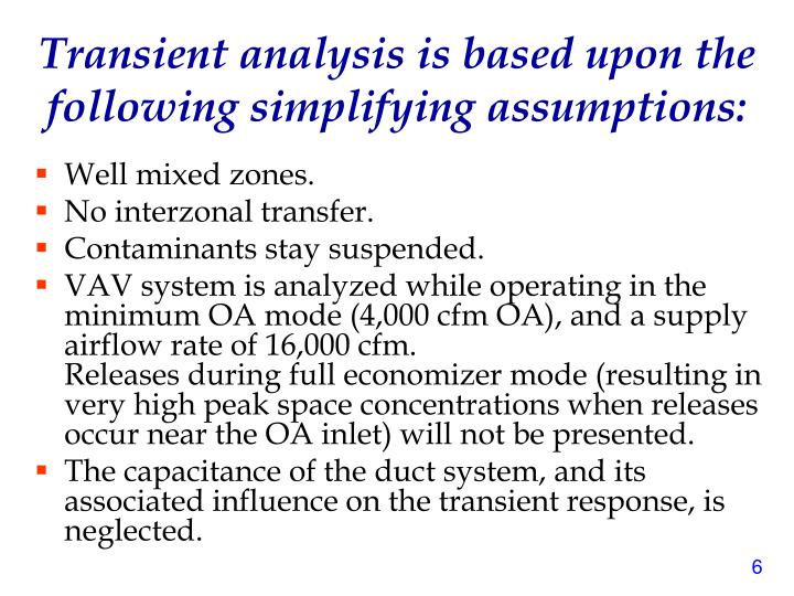 Transient analysis is based upon the following simplifying assumptions: