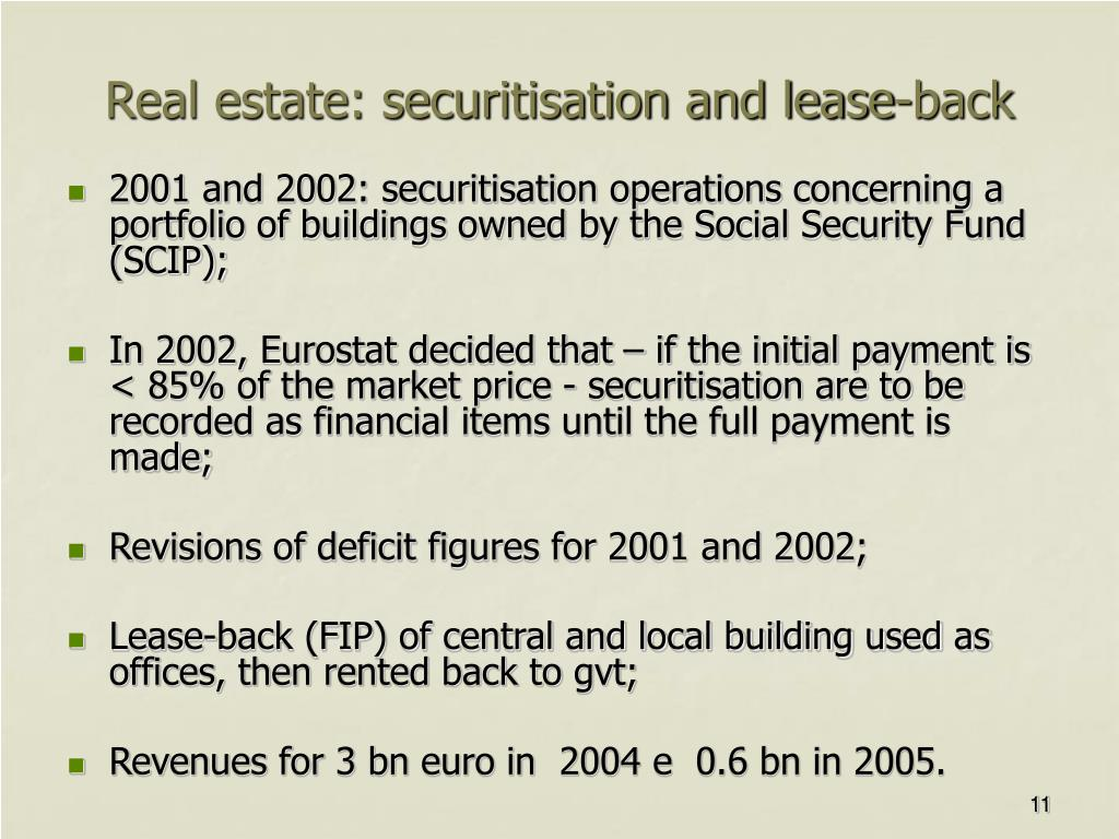 Real estate: securitisation and lease-back