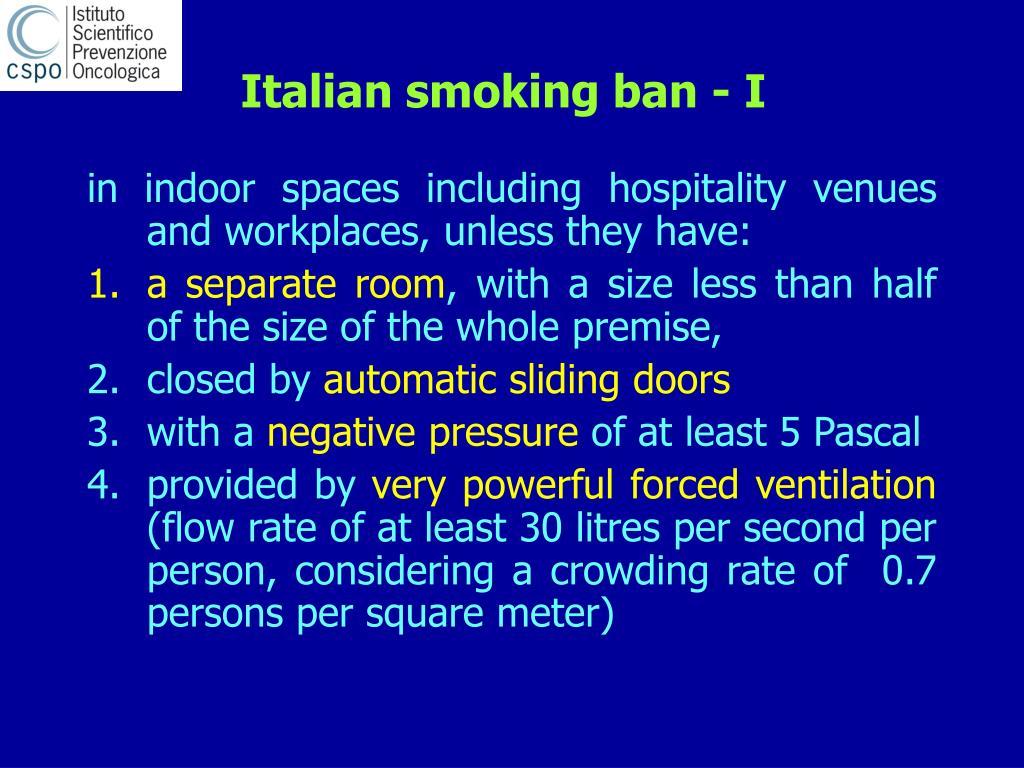 Italian smoking ban - I