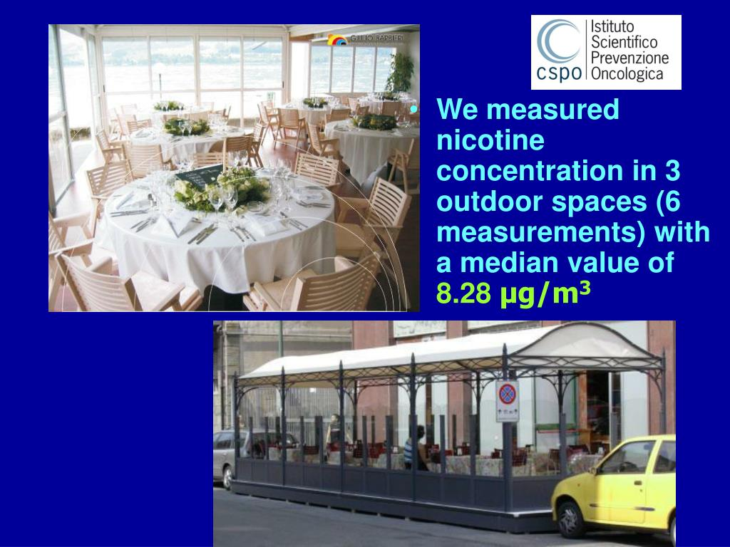 We measured nicotine concentration in 3 outdoor spaces (6 measurements) with a median value of