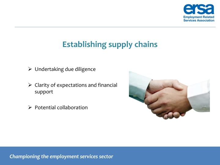 Establishing supply chains