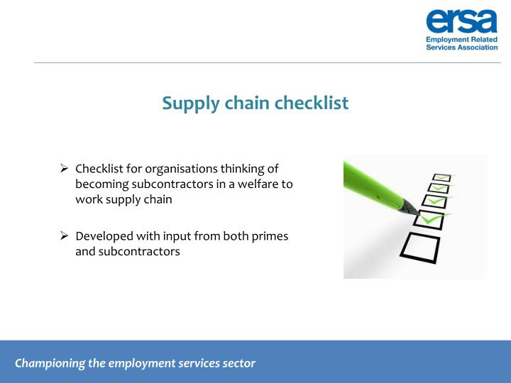 Supply chain checklist