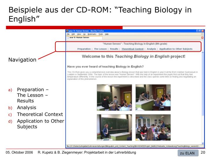 "Beispiele aus der CD-ROM: ""Teaching Biology in English"""
