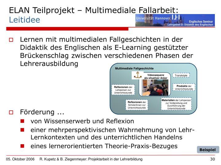 ELAN Teilprojekt – Multimediale Fallarbeit: