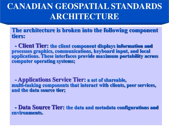 CANADIAN GEOSPATIAL STANDARDS