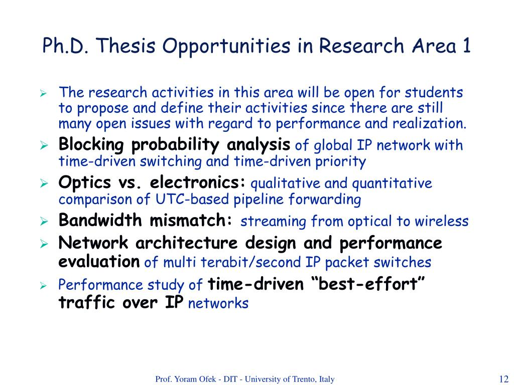 Ph.D. Thesis Opportunities in Research Area 1