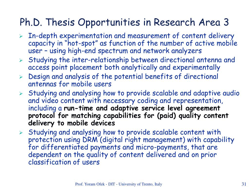 Ph.D. Thesis Opportunities in Research Area 3