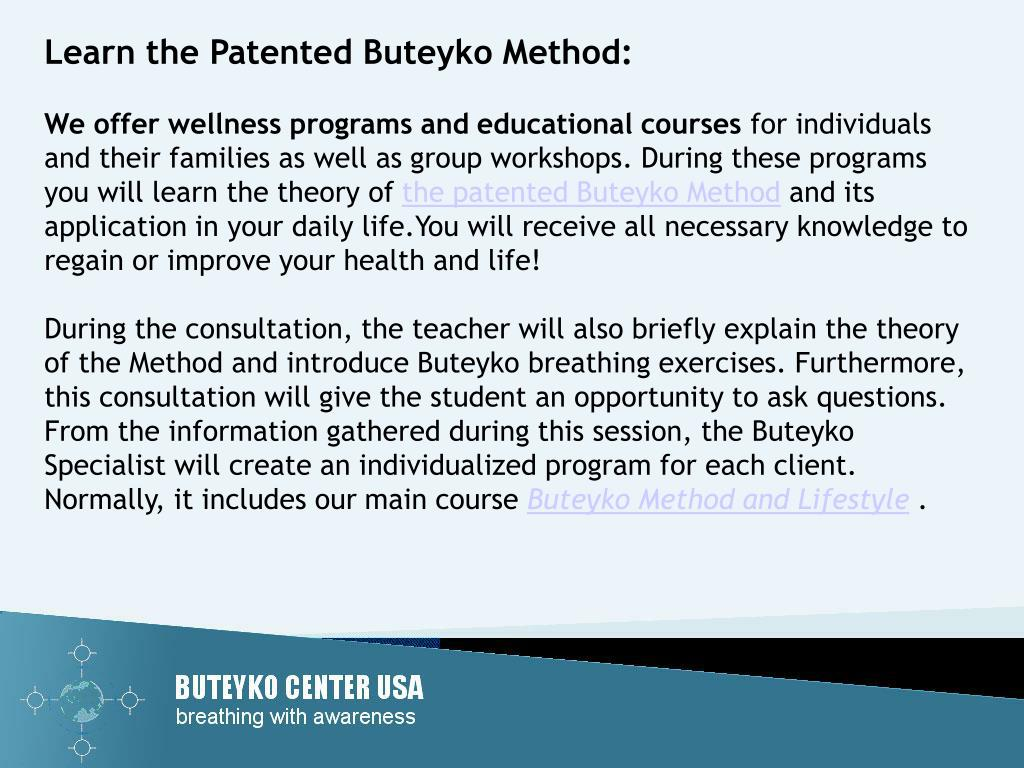 Learn the Patented Buteyko Method: