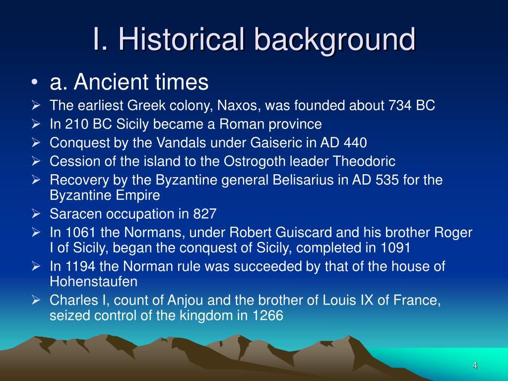 I. Historical background